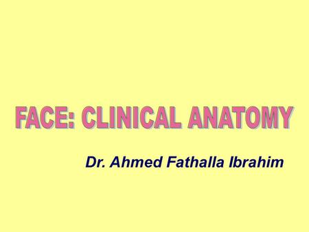 FACE: CLINICAL ANATOMY Dr. Ahmed Fathalla Ibrahim