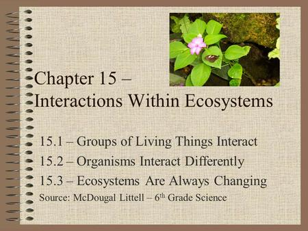 Chapter 15 – Interactions Within Ecosystems