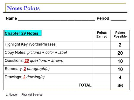 J. Nguyen – Physical Science Notes Points Name __________________________________ Period _______ Chapter 29 Notes Points Earned Points Possible Highlight.