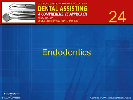 24 Endodontics. 2 Branch of dentistry that deals with diagnosis and treatment of diseases of the pulp and periapical tissues.