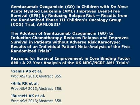 Gemtuzumab Ozogamicin (GO) in Children with De Novo Acute Myeloid Leukemia (AML) Improves Event-Free Survival (EFS) by Reducing Relapse Risk — Results.