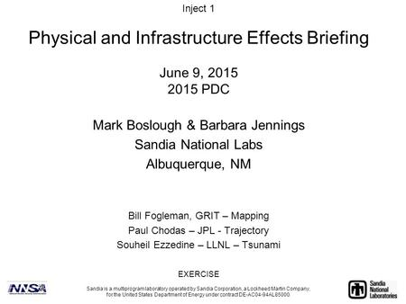 June 9, 2015 2015 PDC Mark Boslough & Barbara Jennings Sandia National Labs Albuquerque, NM Sandia is a multiprogram laboratory operated by Sandia Corporation,