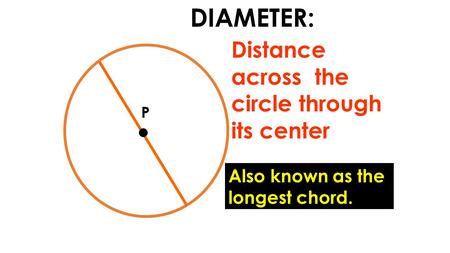 P DIAMETER: Distance across the circle through its center Also known as the longest chord.