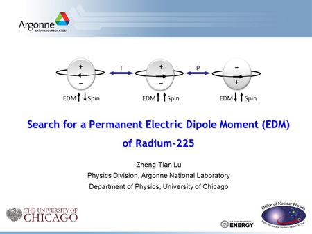 Zheng-Tian Lu Physics Division, Argonne National Laboratory Department of Physics, University of Chicago Search for a Permanent Electric Dipole Moment.