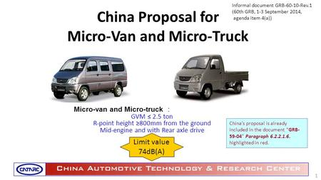China Proposal for Micro-Van and Micro-Truck Micro-van and Micro-truck : GVM ≤ 2.5 ton R-point height ≥800mm from the ground Mid-engine and with Rear axle.