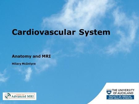Cardiovascular System Anatomy and MRI Hilary McIntyre.