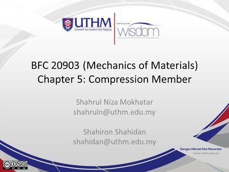 BFC (Mechanics of Materials) Chapter 5: Compression Member