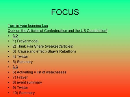 FOCUS Turn in your learning Log