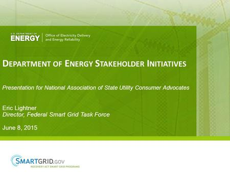 D EPARTMENT OF E NERGY S TAKEHOLDER I NITIATIVES Eric Lightner Director, Federal Smart Grid Task Force June 8, 2015 Presentation for National Association.