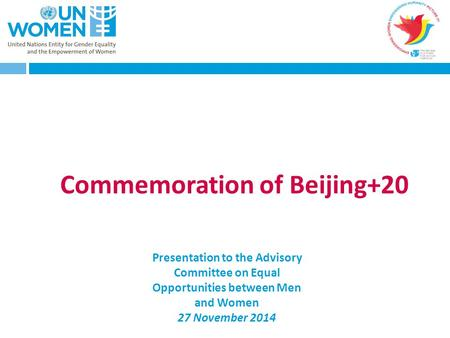 Commemoration of Beijing+20 Presentation to the Advisory Committee on Equal Opportunities between Men and Women 27 November 2014.