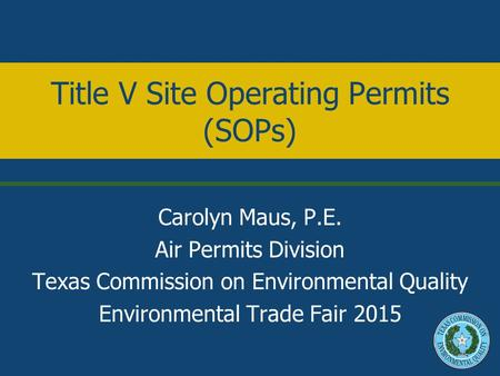 Title V Site Operating Permits (SOPs)