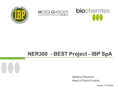 NER300 - BEST Project - IBP SpA