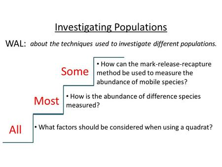 Investigating Populations