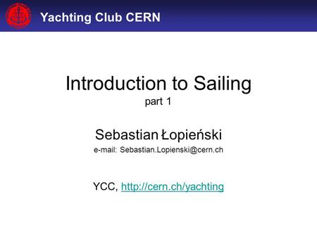 Introduction to Sailing part 1