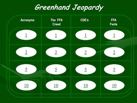 1 2 5 10 Greenhand Jeopardy AcronymsThe FFA Creed CDE'sFFA Facts 1 2 5 10 1 2 5 1 2 5.