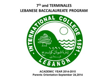7th and TERMINALES LEBANESE BACCALAUREATE PROGRAM