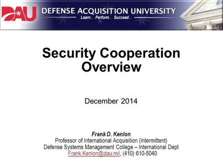 Security Cooperation Overview
