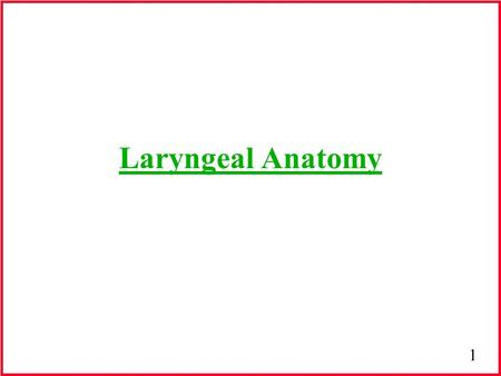 1 Laryngeal Anatomy. 2 Development of the voice Birth: -larynx has higher anatomical position -6th level of the cervical region -pitch of neonate= 700.