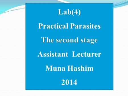 Lab(4) Practical Parasites The second stage Assistant  Lecturer