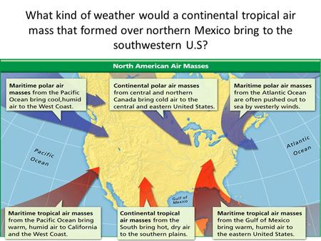 What kind of weather would a continental tropical air mass that formed over northern Mexico bring to the southwestern U.S?