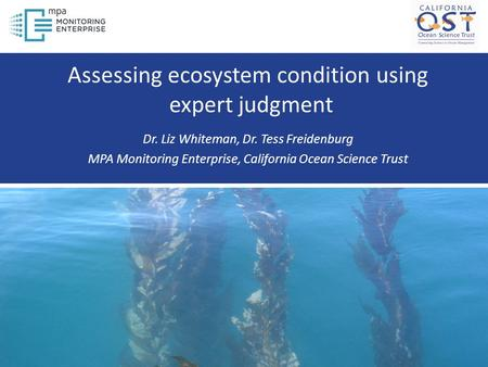 Assessing ecosystem condition using expert judgment Dr. Liz Whiteman, Dr. Tess Freidenburg MPA Monitoring Enterprise, California Ocean Science Trust.