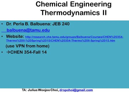 Chemical Engineering Thermodynamics II