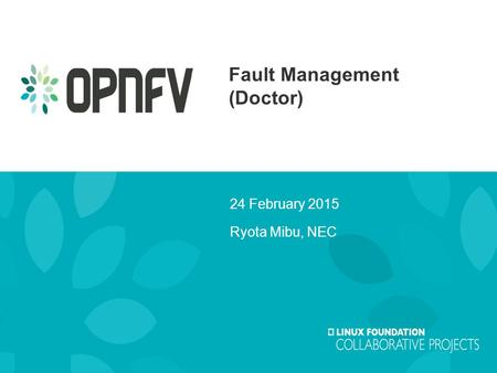 Fault Management (Doctor) 24 February 2015 Ryota Mibu, NEC.