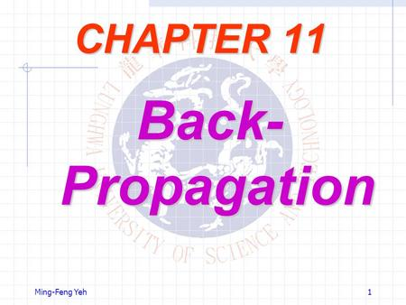 CHAPTER 11 Back-Propagation Ming-Feng Yeh.