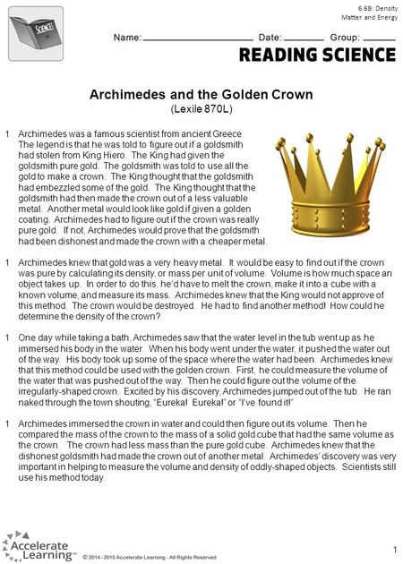 Archimedes and the Golden Crown