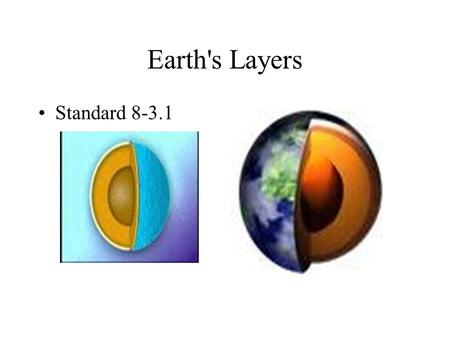 <strong>Earths</strong> Layers Standard 8-3.1.