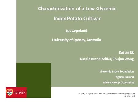 Characterization of a Low Glycemic Index Potato Cultivar