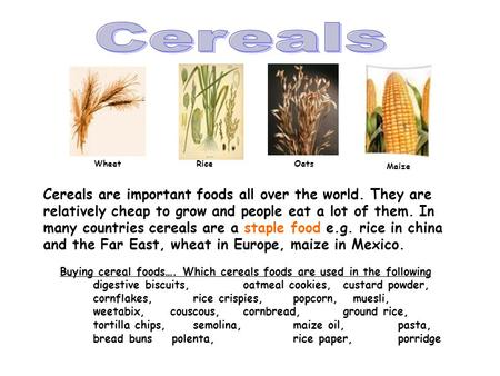 Cereals are important foods all over the world. They are relatively cheap to grow and people eat a lot of them. In many countries cereals are a staple.