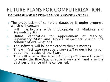 DATABASE FOR MARKING AND SUPERVISORY STAFF.  The preparation of complete database is under progress which will contain i. Full particulars with photographs.