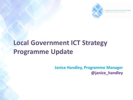 Local Government ICT Strategy Programme Update Janice Handley, Programme