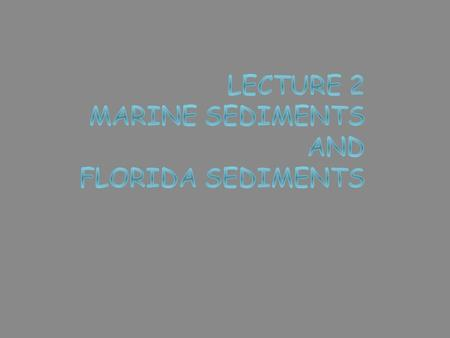 Marine sediments  Eroded rock particles and fragments  Transported to ocean  Deposit by settling through water column  Oceanographers decipher Earth.