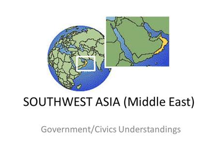 SOUTHWEST ASIA (Middle East) Government/Civics Understandings.