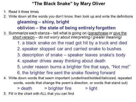 """The Black Snake"" by Mary Oliver"