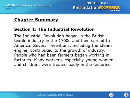 Chapter Summary Section 1: The Industrial Revolution