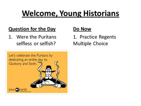 Welcome, Young Historians