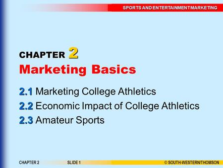 © SOUTH-WESTERN/THOMSON SPORTS AND ENTERTAINMENT MARKETING CHAPTER 2SLIDE 1 CHAPTER 2 CHAPTER 2 Marketing Basics 2.1 2.1 Marketing College Athletics 2.2.