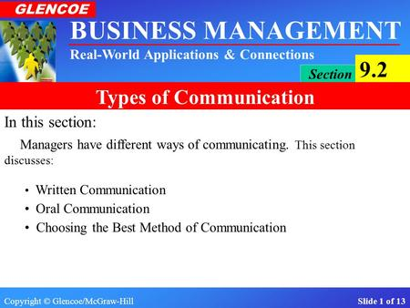 Copyright © Glencoe/McGraw-Hill Slide 1 of 13 BUSINESS MANAGEMENT Real-World Applications & Connections GLENCOE Section 9.2 Types of Communication In.