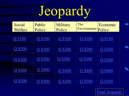 Jeopardy Social Welfare Public Policy Military Policy The Environment Economic Policy Q $100 Q $200 Q $300 Q $400 Q $500 Q $100 Q $200 Q $300 Q $400 Q.