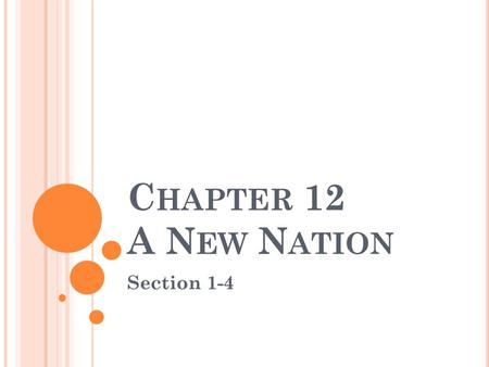 C HAPTER 12 A N EW N ATION Section 1-4. C HAPTER 12 S ECTION 1 Essential Question: How did the Constitution of 1836 affect Texas after the Revolution?