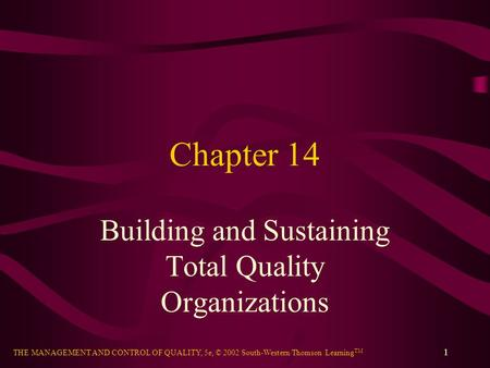 THE MANAGEMENT AND CONTROL OF QUALITY, 5e, © 2002 South-Western/Thomson Learning TM 1 Chapter 14 Building and Sustaining Total Quality Organizations.