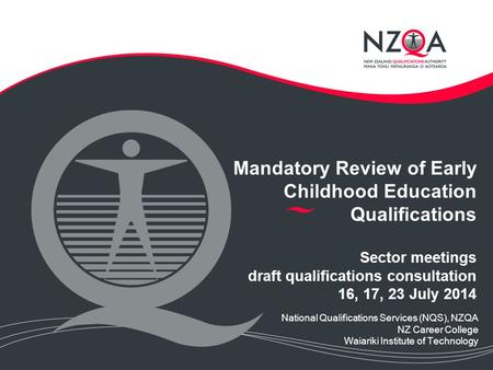 Mandatory Review of Early Childhood Education Qualifications Sector meetings draft qualifications consultation 16, 17, 23 July 2014 National Qualifications.