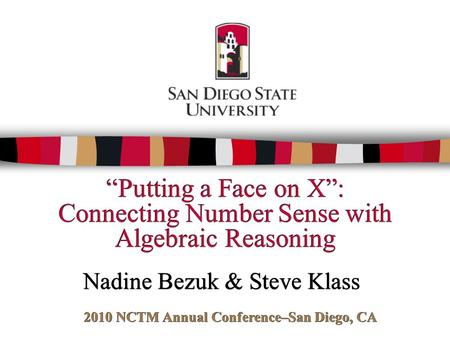 2010 NCTM Annual Conference–San Diego, CA
