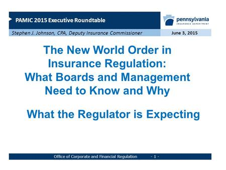 PAMIC 2015 Executive Roundtable June 3, 2015 Stephen J. Johnson, CPA, Deputy Insurance Commissioner Office of Corporate and Financial Regulation - 1 -