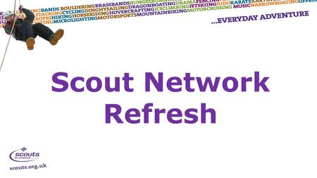 Scout Network Refresh.  Programme  Programme Areas, Participation and Vision 2018  Structure  District Scout Networks and UK Scout Network  Transition.