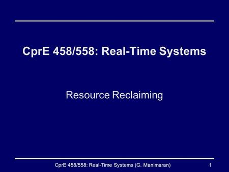CprE 458/558: Real-Time Systems