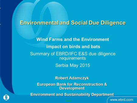 Environmental and Social Due Diligence